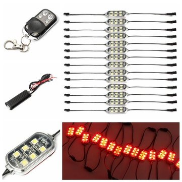14pcs 84-LED Neon Accent Lights Red For Motorcycle Bike with Remote Controller