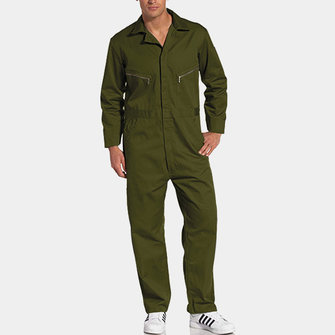 ChArmkpR Mens Turn Down Collar Rompers One Piece Jumpsuit Pockets Long Sleeve Coverall