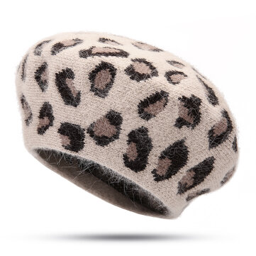 Women Warm Retro Leopard Rabbit Fur Knit Beret Octagon Cap