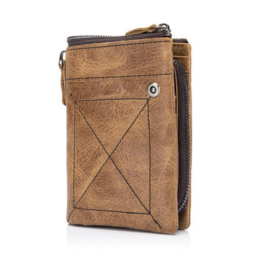 Bullcaptain® Men Genuine Leather Brown 11 Card Slots Zipper Wallet Hipster Wallet with Coin Bag