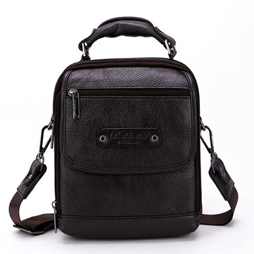 Men Genuine Leather Minimalist Shoulder Bag Crossbody Bag Leisure Business Sling Bag