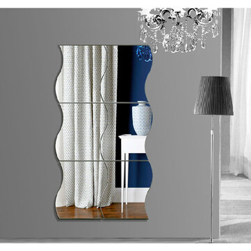 Honana DX-Y1 6Pcs Cute Silver DIY Waves Mirror Wall Stickers Home Wall Bedroom Office Decor
