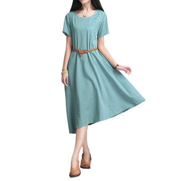 Mulheres do vintage bordados de alta vestido de baixo de linho com cinto