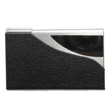Original 2019 Nuevo soporte de la tarjeta de presentación de cuero negro y acero inoxidable de la PU Caso para suministros de oficina