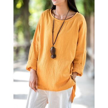 Vintage Pure Color O-Neck Long Sleeve Loose Women Blouse