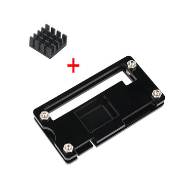 Black Acrylic Case + Aluminum Heat Sink For Raspberry Pi Zero W/V1.3