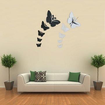 나비 벽시계 스티커 Specular 표면 벽 스티커 홈 장식