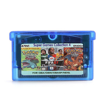 47 in 1 English Game Cartridges Pokeman FIFA 07 Rockman Soccer for GBA Game Console