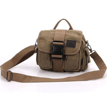 Men's Canvas Outdoor Hiking Ttavel Waist Bag Vintage Style Leisure Crossbody Bag
