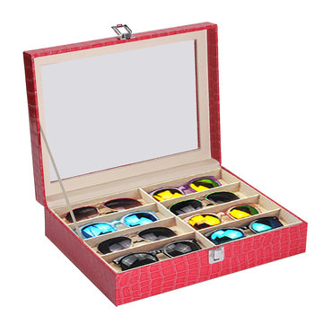 8 Grids Rose Leather Display Case Eyewear Sunglasses Glass Frame Top Jewelry Storage Box