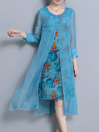 Elegant Women Printed Chiffon Fake Two Pieces Dress