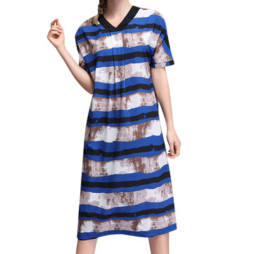 Loose Women Dress Short Sleeve V-Neck Striped Chiffon Dresses