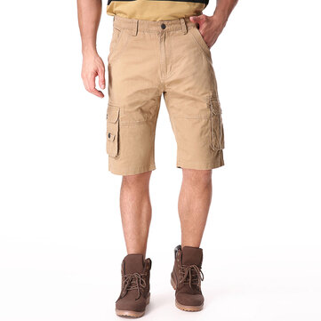 Plus Size 30-46 Men's Summer Casual Cargo Shorts Cotton Solid Color Loose Shorts Pants
