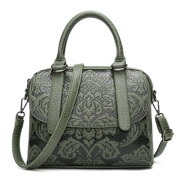 Women Vintage National Style Flower Print PU Leather Handbag Crossbody Bag