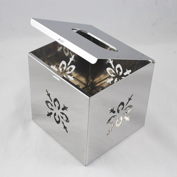 Cube Square Chrome Tissue Container Box Napkin Holder Cover Home Office Decor Stainless Steel