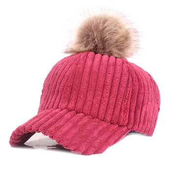 Women Girls Winter Corduroy Thick Strip Pompom Outdoor Sports Baseball Peaked Cap