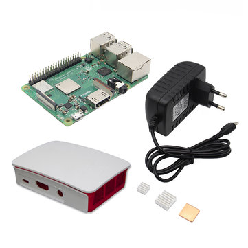 4 in 1 Raspberry Pi 3 Model B+(Plus) + ABS Case + 5V 3A EU Plug Power Adapter + Heatsink Kit