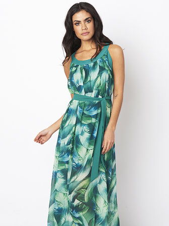 Bohemian Women Feather Print Chiffon Loose Hem Maxi Dress With Belt