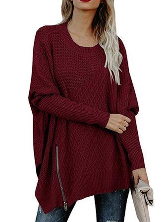 Women Casual Crew Neck Long Sleeve Zipper Loose Knit Sweaters