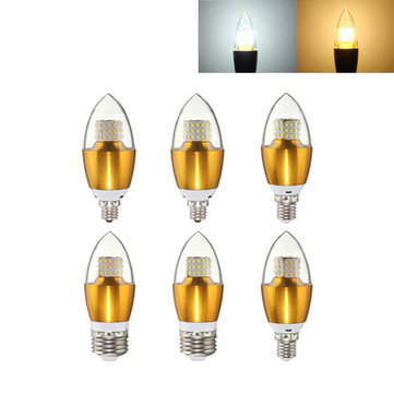 Dimmable E27 E14 E12 7W 60 SMD 3014 LED Pure White Warm White Candle Light Lamp Bulb AC110V