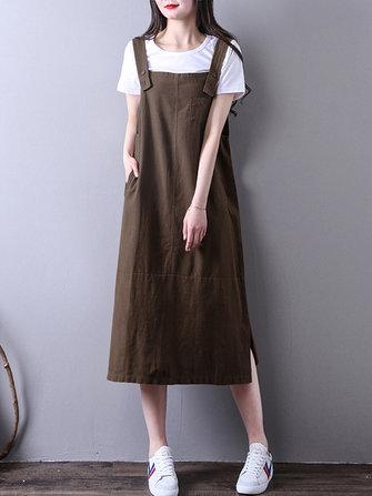 Women Vintage Sleeveless Straps Casual Loose Cotton Tank Dress