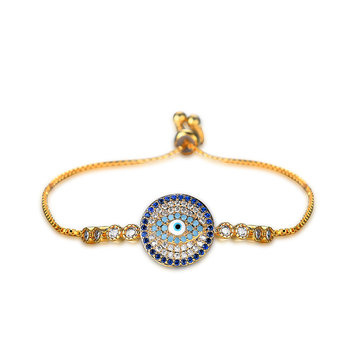 Unisex Jewelry Unique Blue Evil Eye Zircon Adjustable Charm Bracelet