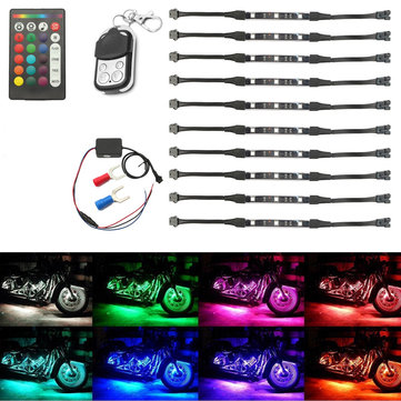 12V 50W Multi-Color Wireless Remote Control Motorcycle Lamp RGB Flexible Strips Ground Effect Light