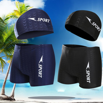 Sharkskin Waterproof Quick Drying Beach Swim Trunks and Cap Boxers Swimwear for Men