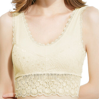 Cozy Deep V Lace-trim Hollow Out Wireless Full Cup Push Up Breathable Vest Bra