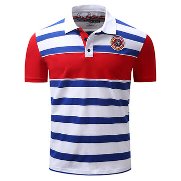 Summer Men's Turn-down Collar POLO Shirt Casual Business Striped Embroidery Printing Tops Tees