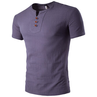 Summer Mens Casual V-neck Button Cotton Linen T-shirt Short Sleeved Tops Tees