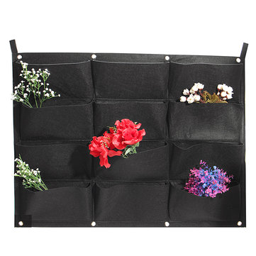 12 Pockets Vertical Garden Hanging Felt Planter Wall Mount Indoor Outdoor Aeration Growing Bag