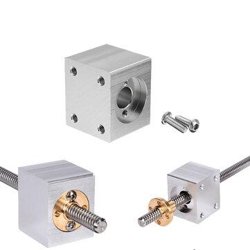 Original Aleación de aluminio Silver T8 Tuerca Soporte de alojamiento con tornillos de 2 piezas para tornillo de plomo de Pritner 3D