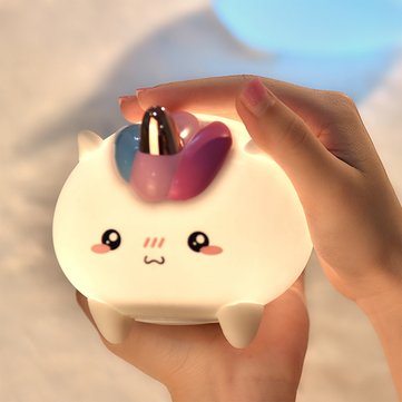 Cute Animal Unicorn Silicone LED Colorful Night Light Tap Control USB Rechargeble Nursery Lamp Gift