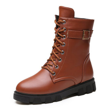 Women Martin Boots Lace Up Thick Sole Ankle Boots