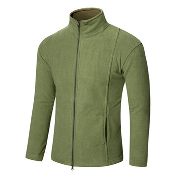 Mens Fleece Tactical Warm Soft Shell Outdoor Sports Solid Color Jacket Coats