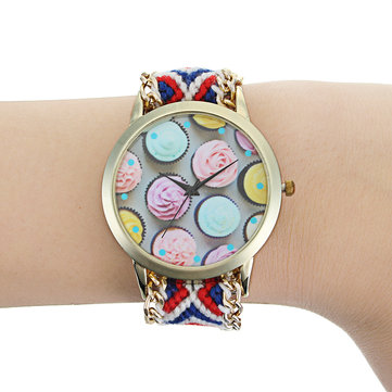 Fashion Flower Design Golden Dial DIY Handmade Braided Bracelet Quartz Watch