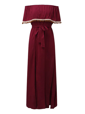 ZANZEA Women Off Shoulder Tassel Split Ruffle Maxi Dresses