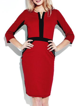 Women 3/4 Sleeve Color Block Patchwork Knee Length Pencil Dresses