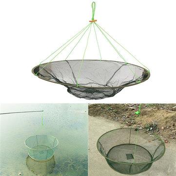 ZANLURE Green Steel Wire & Nylon Foldable Fishing Net Prawns Shrimps Crabs Catching Landing Net