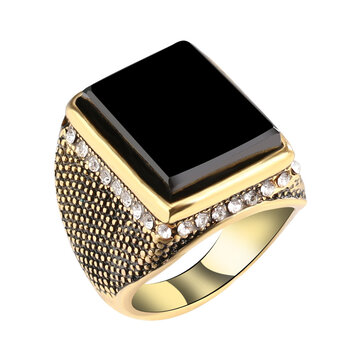 20mm Punk Resin Black Color Geometry Rhinestone Ancient Gold Finger Ring for Men