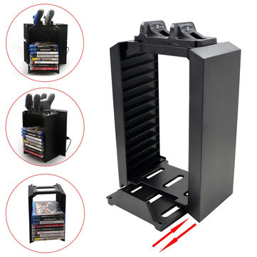 Multifunctional Storage 2 Game Controller Charging Stand Dock Station for PS4
