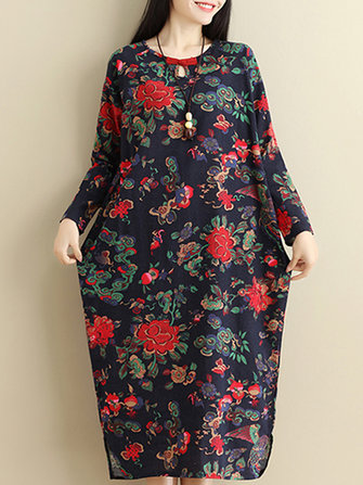 Vintage Floral Side Split Long Sleeve Maxi Dress