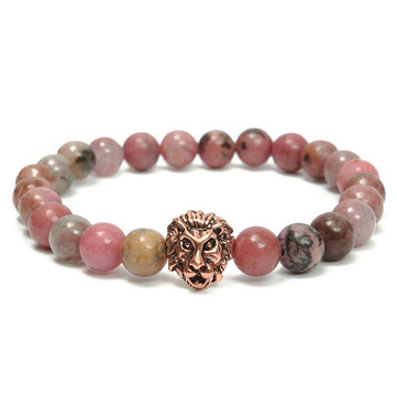 8mm Lion Head Beads Stretch Bracelet Bijoux Lucky