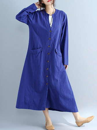 Women V Neck Buttons Open Cardigan Maxi Dress
