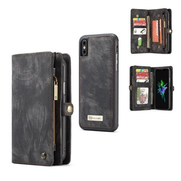 Caseme Magnetic Detachable Zipper Wallet Cash Pocket Card Slots Protective Case For iPhone XS/X