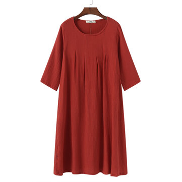 Vintage Women Pleated O-Neck Dress