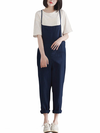 Casual Femmes Loose Pure Couleur Jarretelle Jumpsuit
