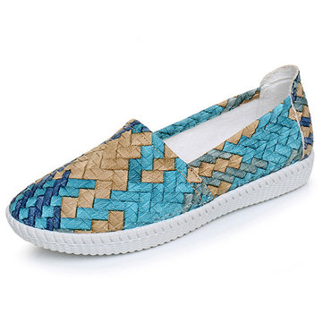 Streep Embossing Soft Sole Casual Misstap Casual Flat Instappers