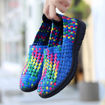 Large Size Women Hand Woven Casual Breathable Sneakers
